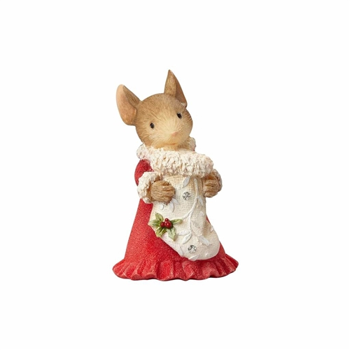 Heart of Christmas Mouse with Stocking Figurine