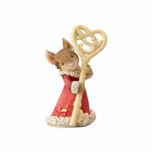 Heart of Christmas Mouse with Key Figurine by Foundations 4057655