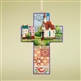 Heartwood Creek Town and Church Scene Cross Ornament by Jim Shore, 4008103