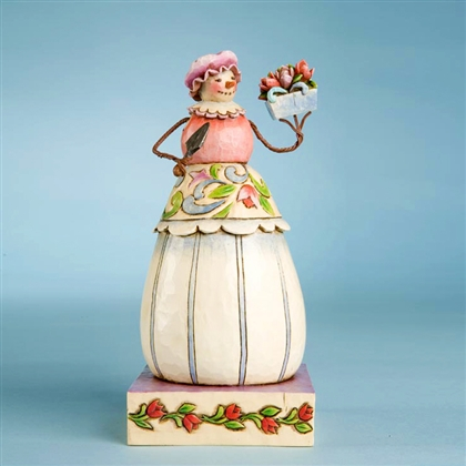 Heartwood Creek Snow Woman with Potted Blossoms Figurine by Jim Shore, 4010358