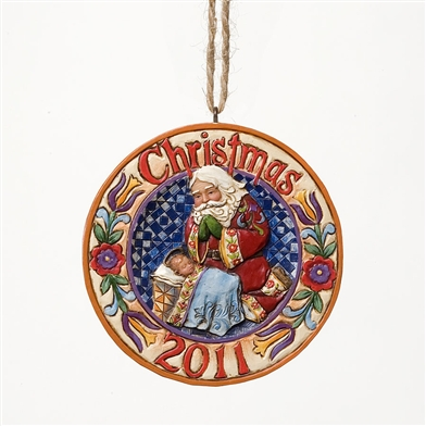 Christmas 2011 Dated Santa/Baby Jesus Ornament - Jim Shore, Heartwood Creek 4023460