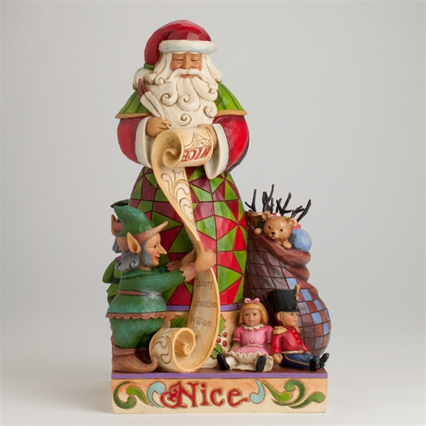 Naughty Nice Santa 2 Sided Figurine Jim Shore