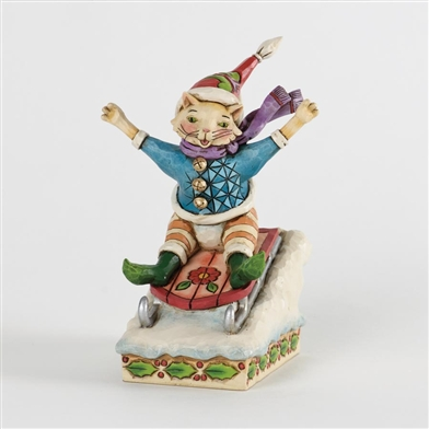 Christmas Cat on Sled Figurine - Jim Shore, Heartwood Creek, 4034392