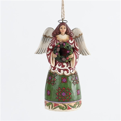 Angel with Wreath Christmas Ornament - Jim Shore, Heartwood Creek, 4034407