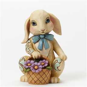Heartwood Creek Pint Size Bunny with Basket Figurine