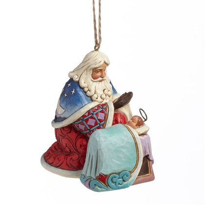 Heartwood Creek Hanging Ornament Santa With Baby Jesus