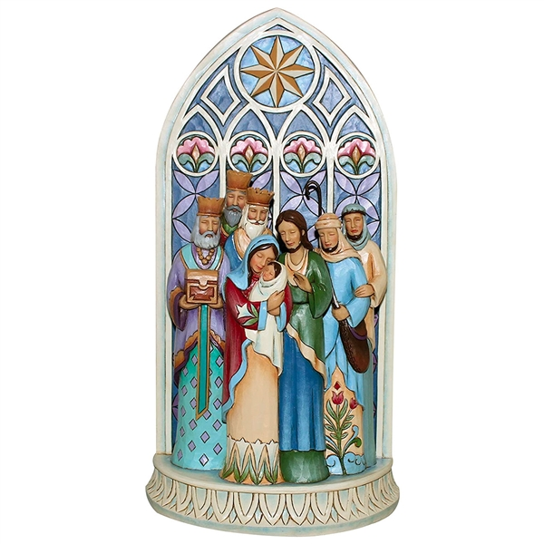 Heartwood Creek Holy Family Nativity Cathedral Window by Jim Shore, 4049400