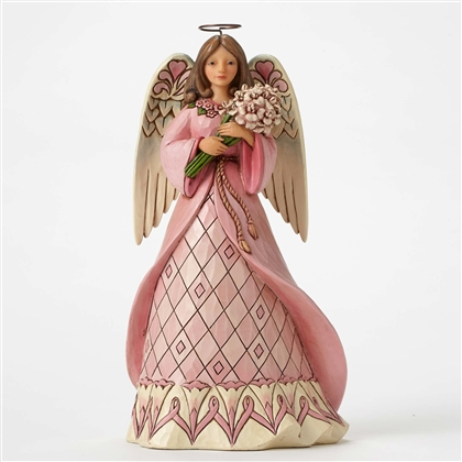Heartwood Creek Breast Cancer Awareness Angel hanging ornament by Jim Shore