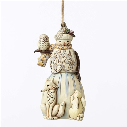 Heartwood Creek White Woodland Snowman Hanging Ornament by Jim Shore 4051541