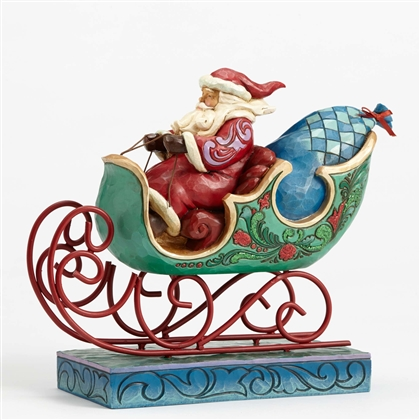 Heartwood Creek Santa with Sleigh Figurine By Jim Shore