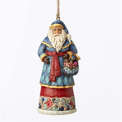 Heartwood Creek Santa with Basket Hanging Ornament by Jim Shore