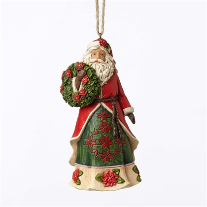Heartwood Creek Santa with Poinsettia Hanging Ornament By Jim Shore
