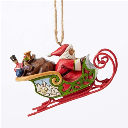 Heartwood Creek Santa with Sleigh Hanging Ornament by Jim Shore