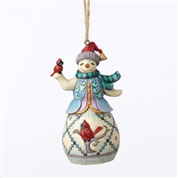 Heartwood Creek Snowman with Cardinal Hanging Ornament by Jim Shore
