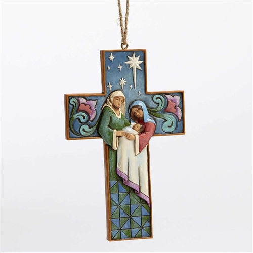 Heartwood Creek Cross-Shaped Holy Family Ornament