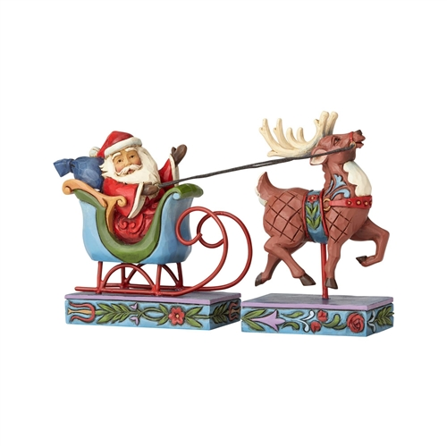 Heartwood Creek Santa in Sleigh Figurine Set