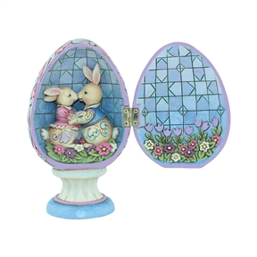 Heartwood Creek Hinged Egg with Bunnies Inside