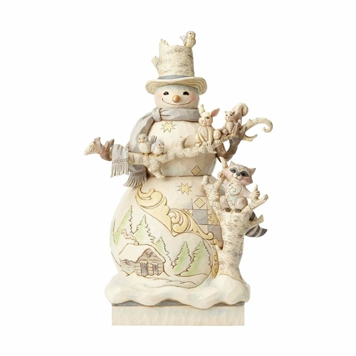Heartwood Creek White Woodland Snowman Statue 4058733