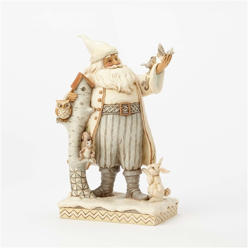 Heartwood Creek WhiteWood Santa with Birch House Figurine