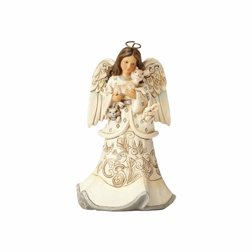 Heartwood Creek White Woodland Angel with Fawn, 4058736