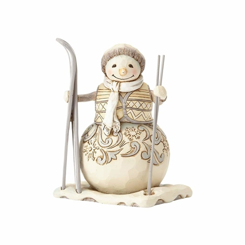 Heartwood Creek WhiteWood Snowman with Skis Figurine