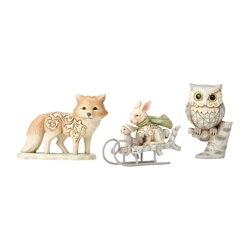 Heartwood Creek WhiteWood Owl, Squirrel & Bunny Figurine Set