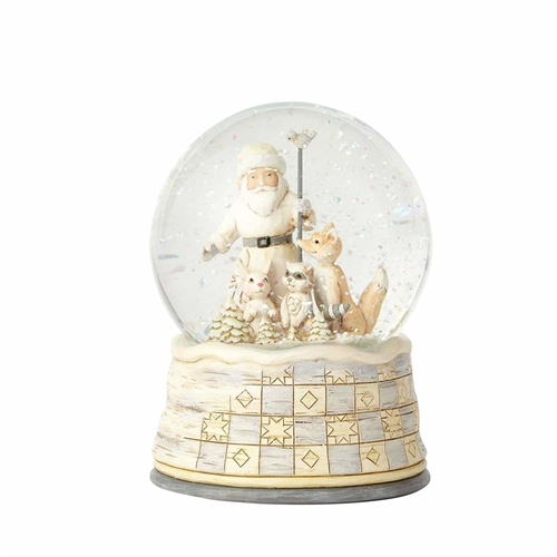Heartwood Creek WhiteWood Santa Snow Globe