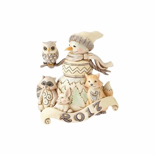 Heartwood Creek WoodLand 2017 Dated Snowman Ornament