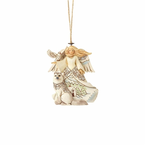 Heartwood Creek WhiteWood Angel with Husky Ornament