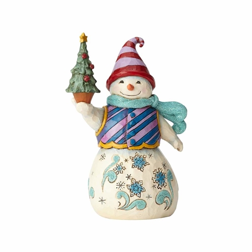 Heartwood Creek Woodland Snowman Holding Tree