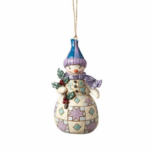 Heartwood Creek Wonderland Snowman with Holly Ornament