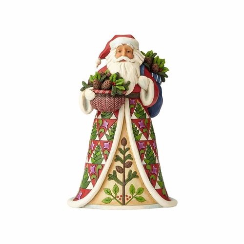 Heartwood Creek Santa with Pinecone Basket Figurine 4058785