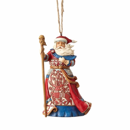 Heartwood Creek Lapland Red and Blue Santa Ornament