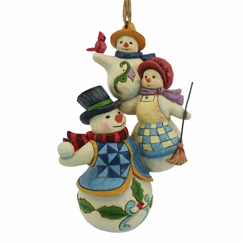 Heartwood Creek Stacked Snowman Family Ornament