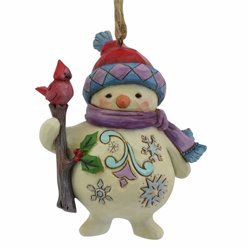 Heartwood Creek Snowman with Cardinal on Branch Ornament