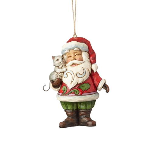 Heartwood Creek Santa with Cat Ornament