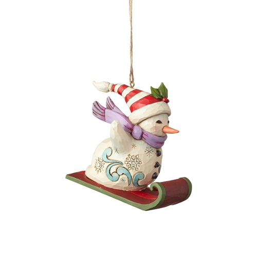 Heartwood Creek Snowman Sledding Ornament