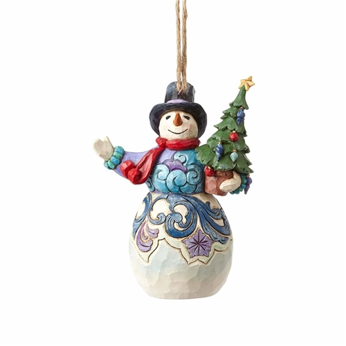 Heartwood Creek Snowman Holding Tree Ornament by Jim Shore 4058835