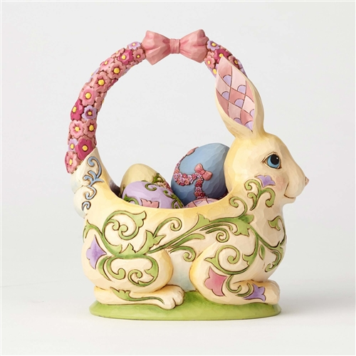 Bunny Basket with 4 Eggs Figurine by Jim Shore