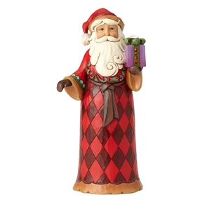 Heartwood Creek Santa Holding Gift with Crystal Figurine, 4059003