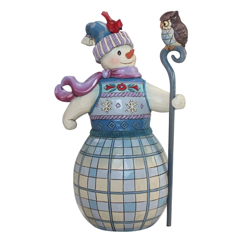 Heartwood Creek Snowman with Owl Friend Figurine by Jim Shore 6000672
