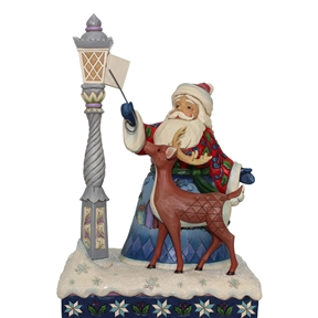 Heartwood Creek Santa by Lighted Lampost