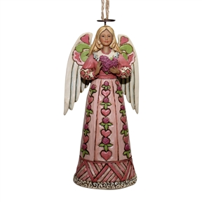 Heartwood Creek Angel with Heart Cancer Awareness Ornament
