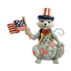 Heartwood Creek Pint Size Patriotic Cat with Flag Figurine 6001086