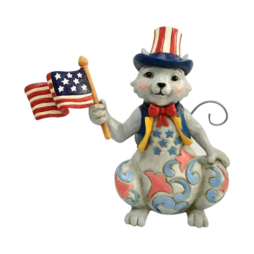 Heartwood Creek Pint Size Patriotic Cat with Flag Figurine