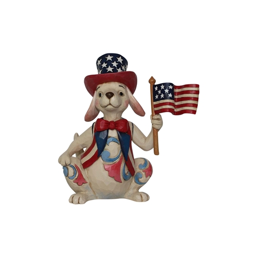 Heartwood Creek Pint Size Patriotic Dog with Flag Figurine