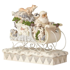 Heartwood Creek Santa in Sleigh with White Woodland Animals by Jim Shore 6001410