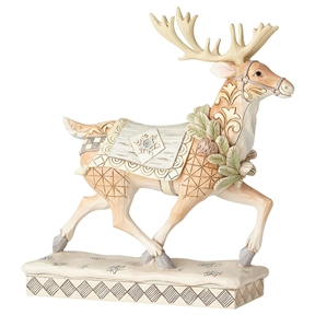 Heartwood Creek White Woodland Walking Reindeer by Jim Shore 6001411