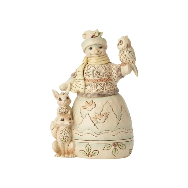 Heartwood Creek Woodland Animals and Snowman Figurine by Jim Shore 6001416