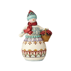 Heartwood Creek Wonderland Snowman with Basket Figurine by Jim Shore, 6001421